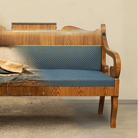 Rinnovare una poltrona o un divano rovinati - Facciamo saltare i bulloni a questo divano ...