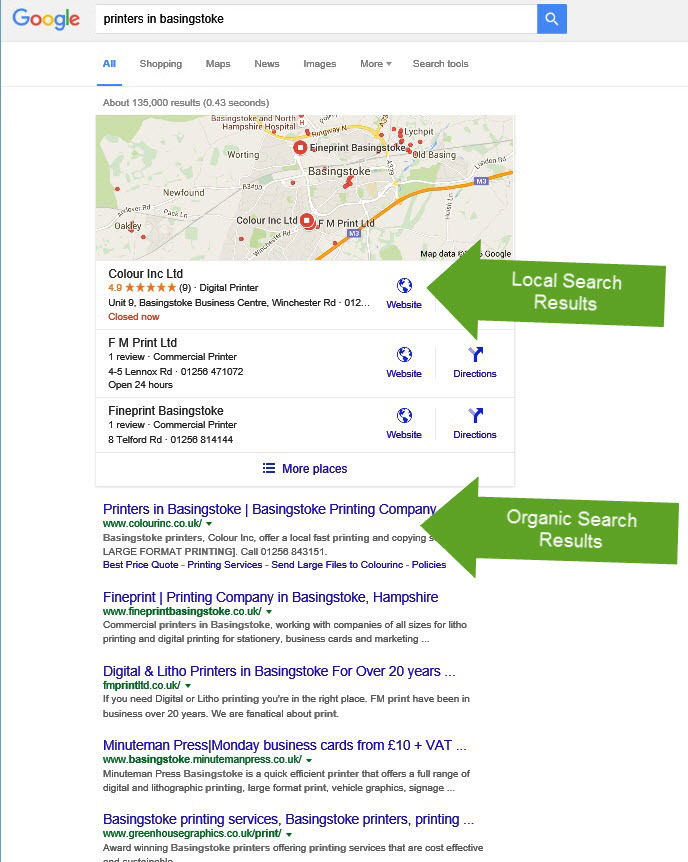Local & organic search engine optimization results Basingstoke Hampshire