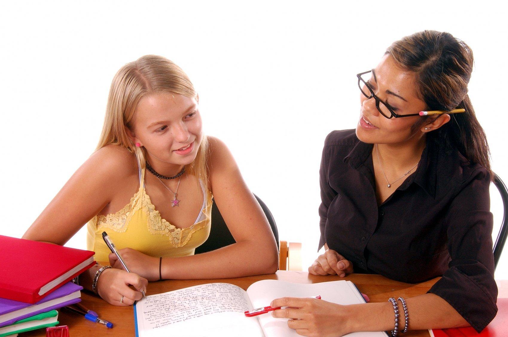 Teenage student with tutor