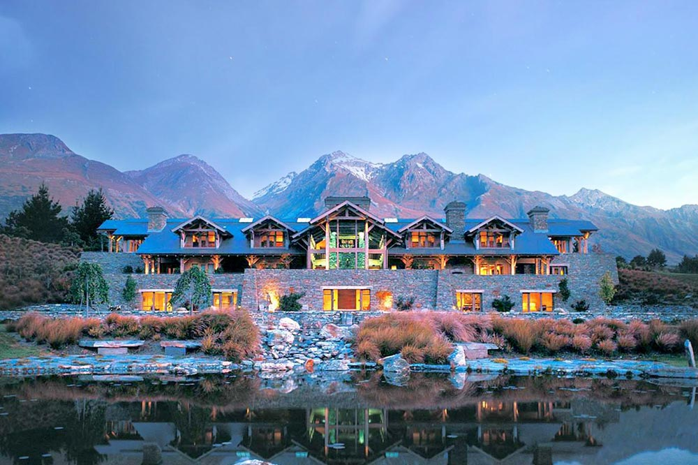 View of a hotel along a lake