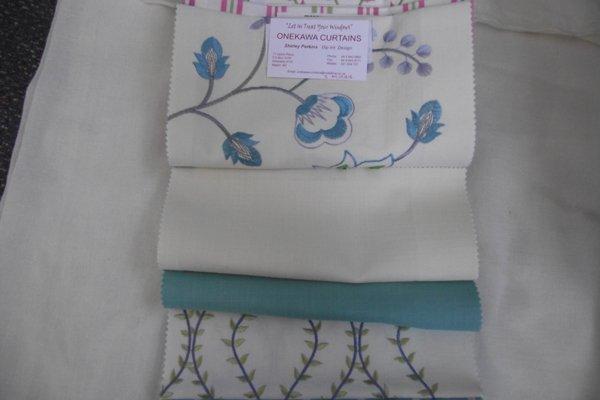 Blue and white furnishing fabric