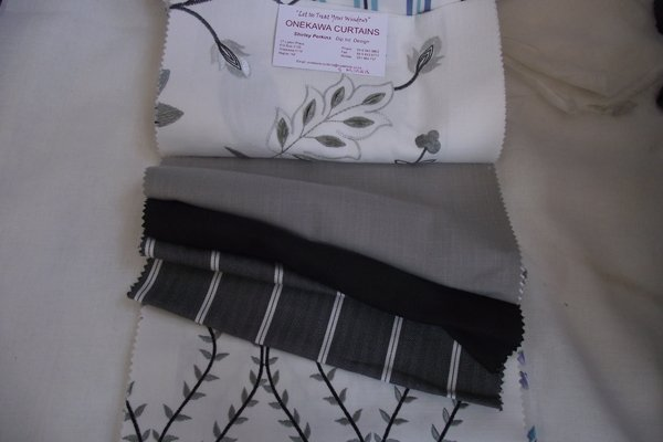 Black and white embroidery fabric
