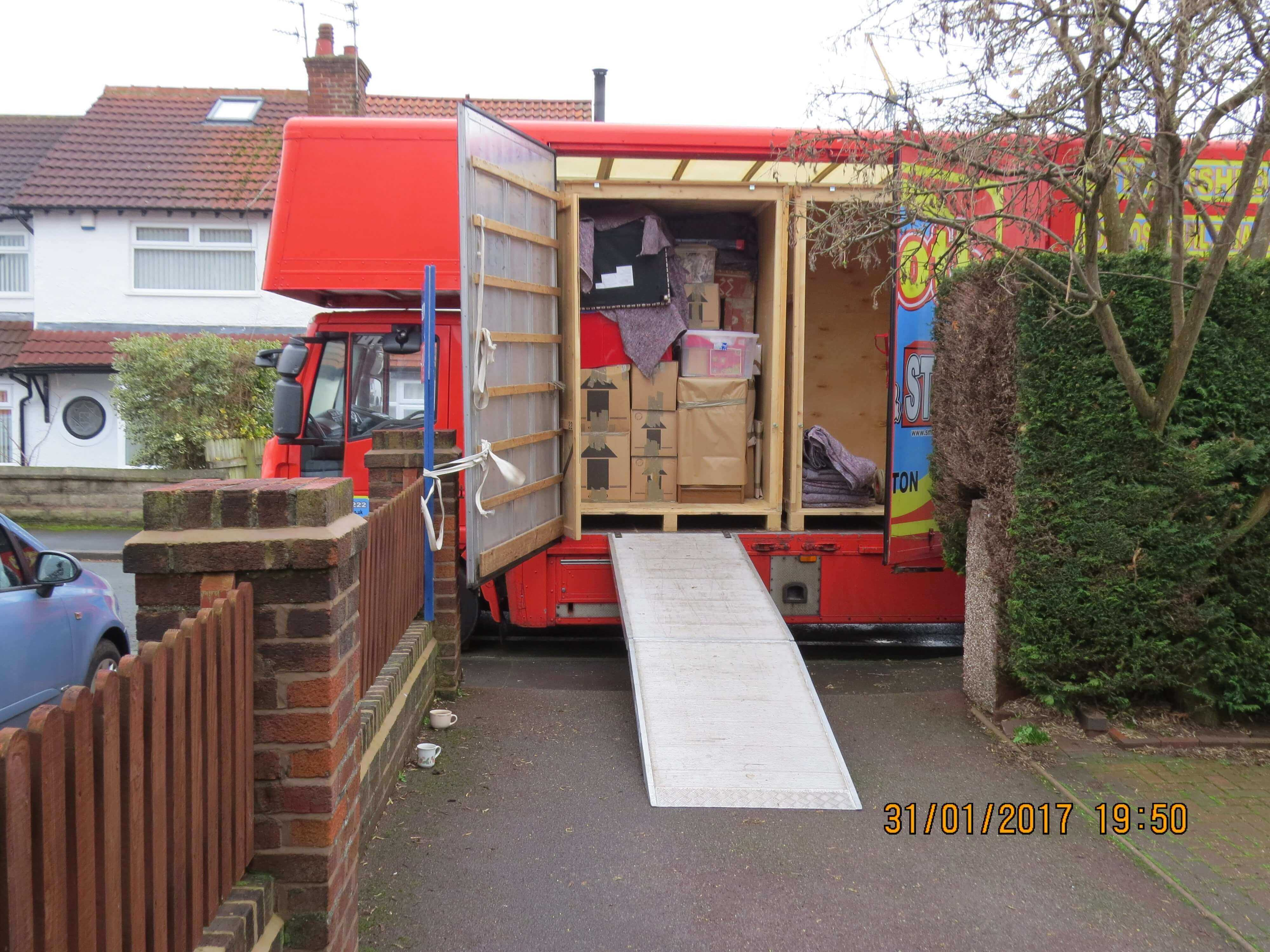 Container loaded at house