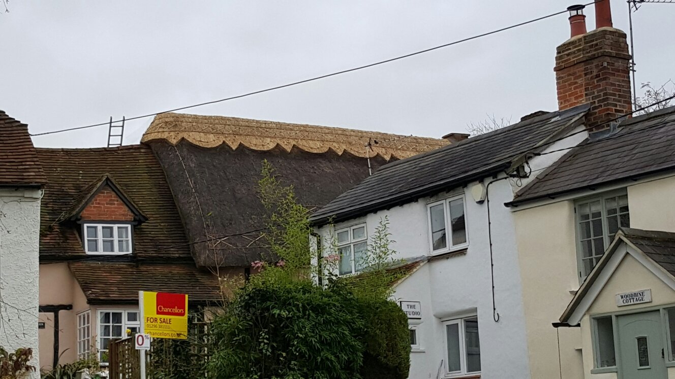 A property having its roof thatched