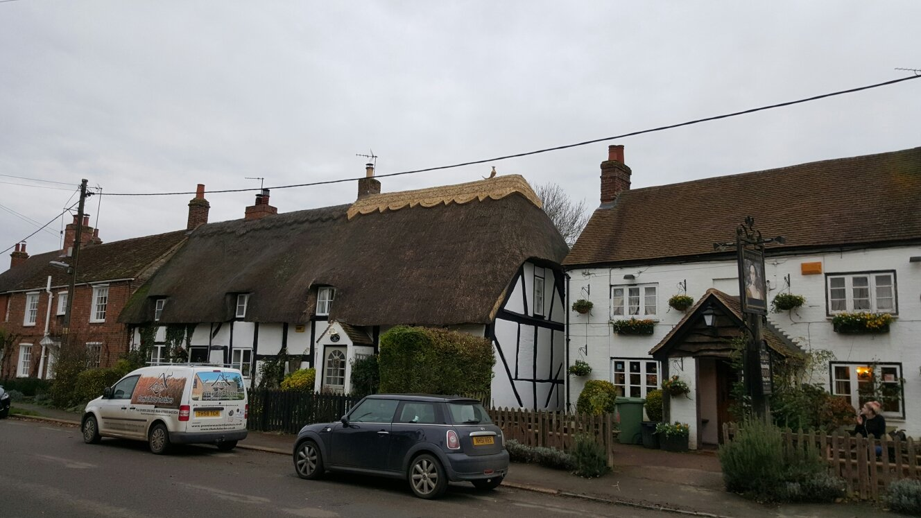 A row of properties with thatched roofs