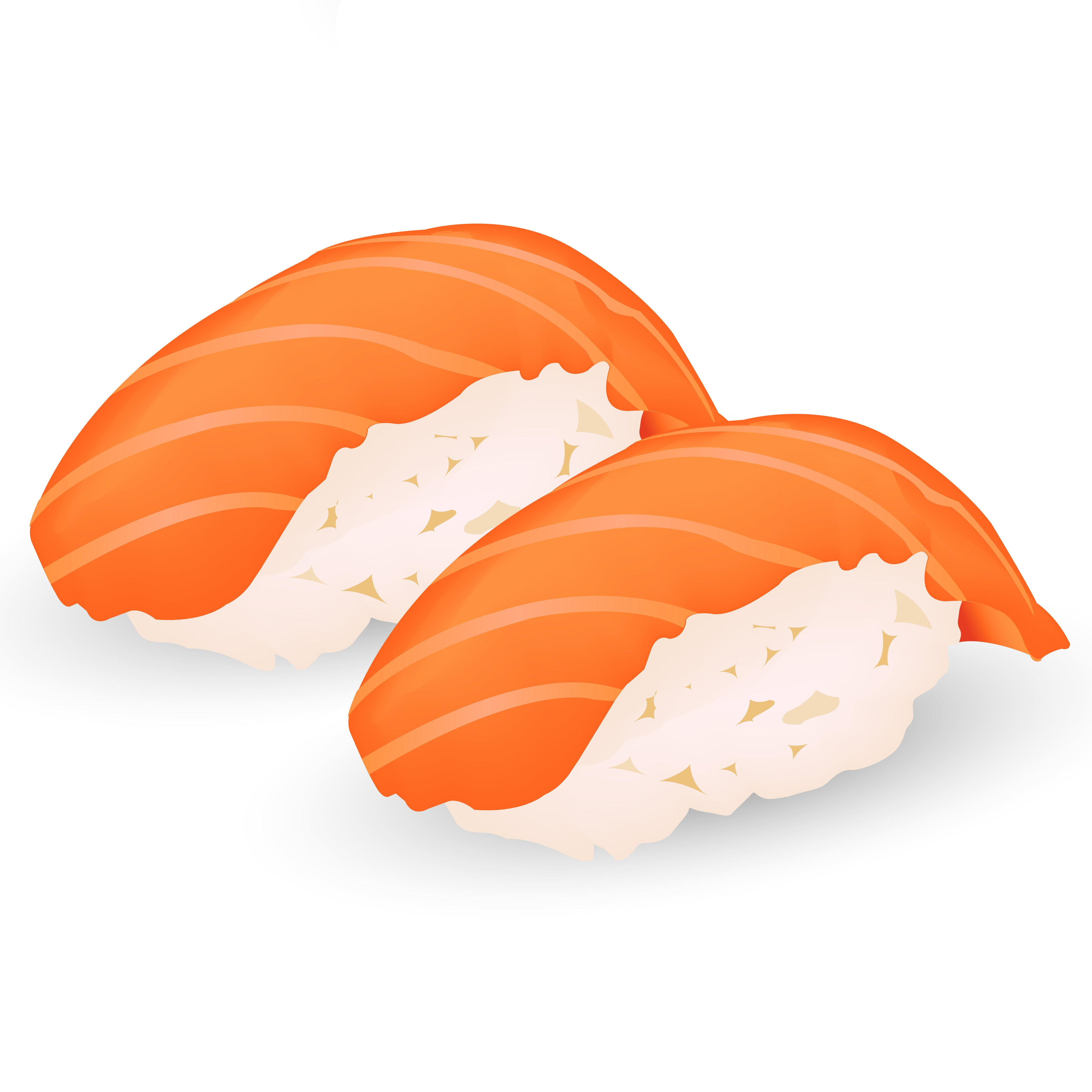 An illustration of two pieces of salmon nigiri sushi