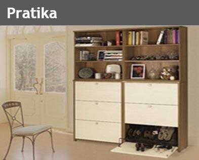 Venite a scoprire la vasta gamma di comode e ampie scarpiere della linea Pratika...