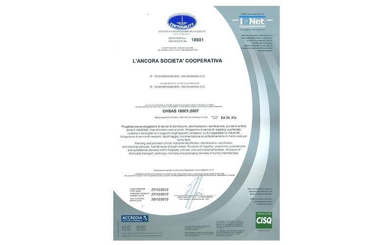modulo certificazione OHSAS
