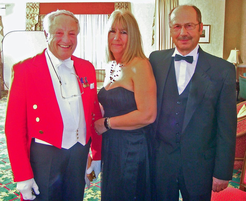 W Bro Michael Dennis and his wife Pauline with Master of Ceremonies, W Bro Alan Verney