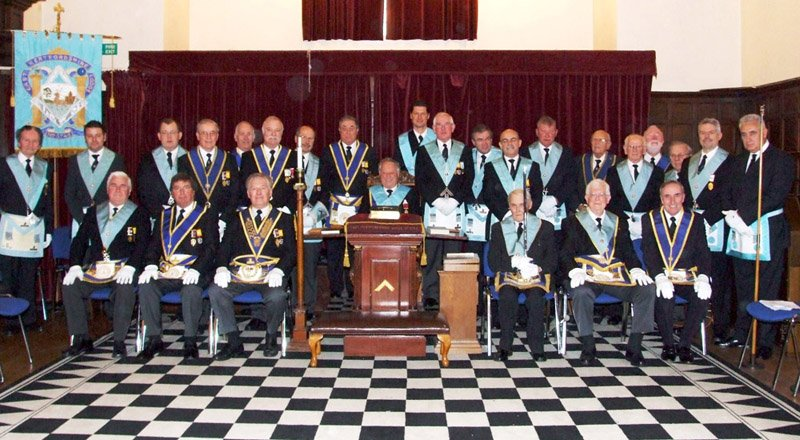 Newly-installed Worshipful Master Alan Verney, with the members of the East Hertfordshire Lodge
