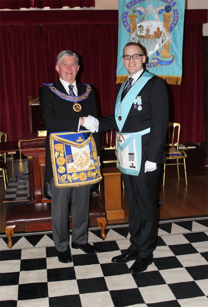 The Right Worshipful Provincial Grand Master, R W Paul Gower with W Bro Thomas Day