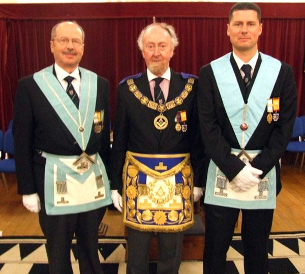 W Bros Michael and Matthew Dennis with the Right Worshipful Provincial Grand Master, R W Bro Colin Harris