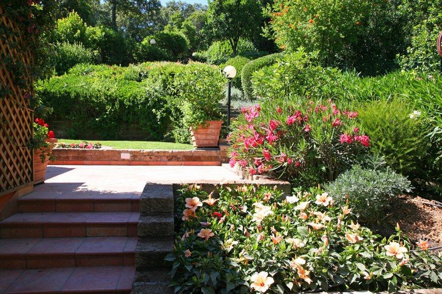 scalinate che portano a uno spiazzo in cemento in mezzo a un giardino