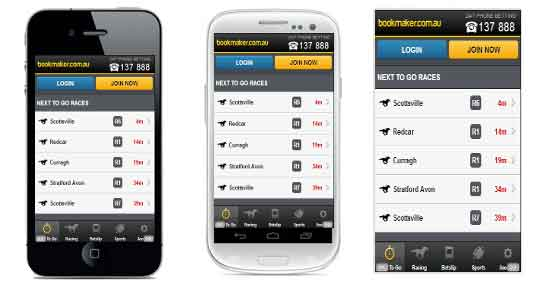 Mobile device betting screen