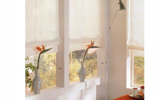 finestre con tende a pacchetto e vasi di fiori