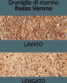 graniglia di marmo Rosso Verona - lavato o levigato