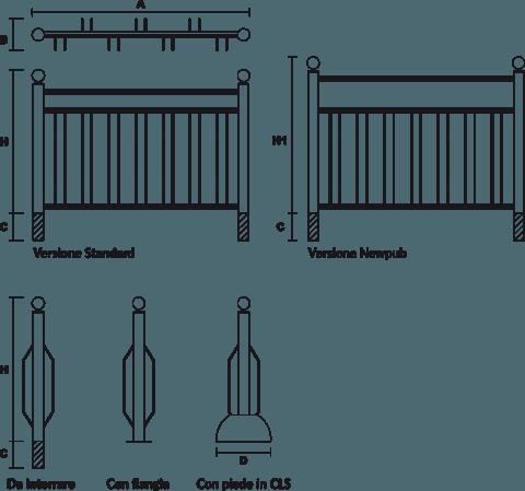 disegno portabiciclette Bicinew bifrontale