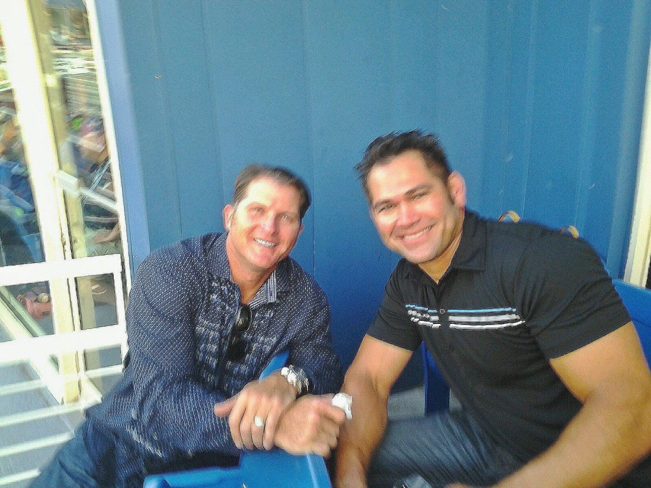 Former Kansa City Royals stars Johnny Damon and Mike Sweeney at Blue Rocks Stadium