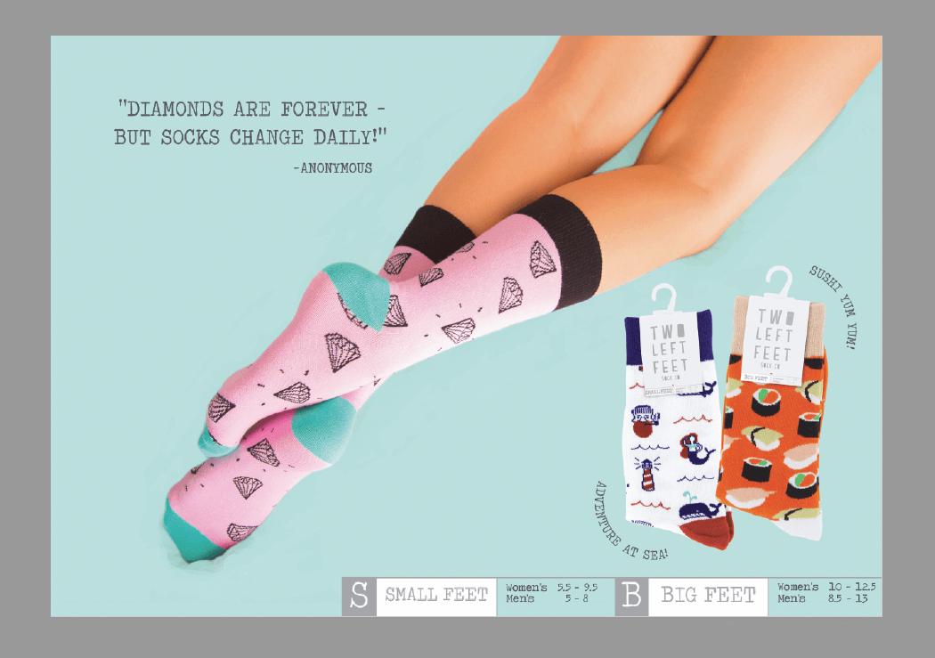 DM Merchandising Two Left Feet Sock Co. Available Via TMA