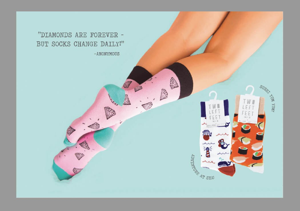 DM Two Left Feet Sock Co.  Available to the Retailer Via Terry Moore & Associates