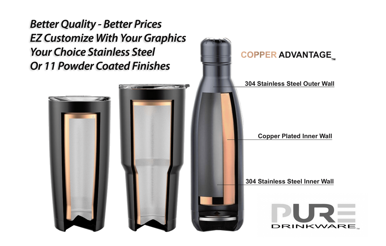 Pure Drinkware™  The Best Stainless Steel With Copper  Available Through TMA